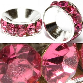 2pcs Charms 10mm Circle Rhinestone Hot Pink BD3080