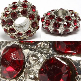 2pc 14x7mm Charm Round Rhinestone Dark Red BD3081