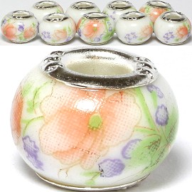 8pcs Ceramic Bead Flower White Orange Green BD3084