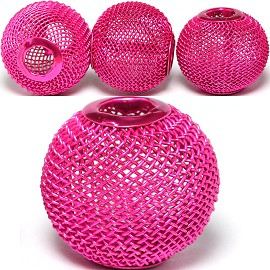 4pc Mesh Bead Metal Link 18x16mm Magenta BD3088