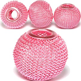 4pc Mesh Bead Metal Link 18x16mm Pink Light BD3089