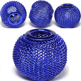 4pc Mesh Bead Metal Link 18x16mm Blue BD3091