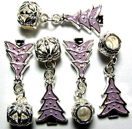 5pcs Charms Christmas Tree Silver Purple BD311