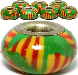 8pc Clay Bead Green Red Yellow BD3114