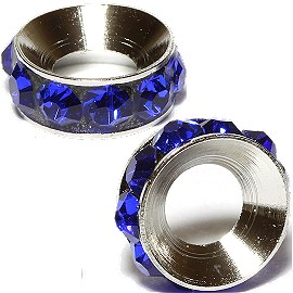 2pc Rhinestone 9mm Circle Charm Blue Silver BD3128