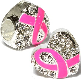 2pc Charms Pink Cancer Ribbon Rhinestone Heart BD3132