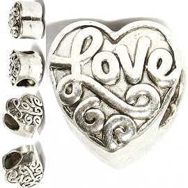 5pcs Charms Heart Love Silver BD3140