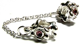 2pcs Charms Pack Silver Chain Dark Pink Crystal BD348