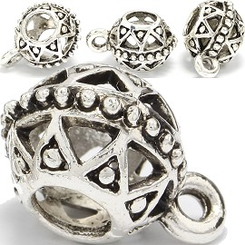 4pc Charm Round Silver BD372