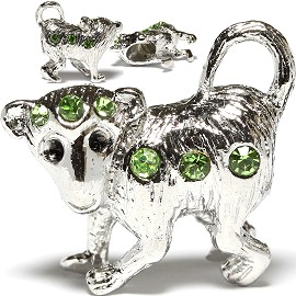 3pc Charm Monkey Rhinestone Green Screw BD377