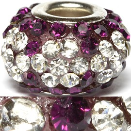 1pc Bead Rhinestone Purple Silver BD410