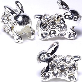3pc Charm Rabbit Rhinestone Silver Clear BD411