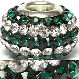 1pc Bead Rhinestone Forest Green Silver BD415