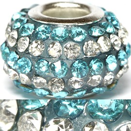 1pc Bead Rhinestone Turquoise Silver BD416