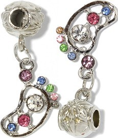 2pc Charm Foot Rhinestone Multi Color Silver BD420
