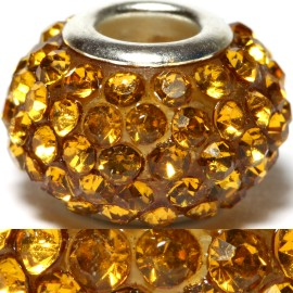 1pc Rhinestones Bead 15x10mm Gold BD466
