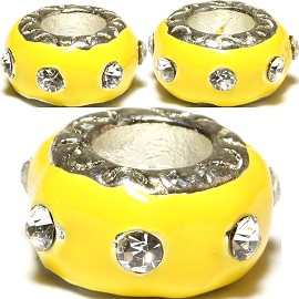 3pcs Charms Donut Yellow Light Crystal Clear BD495
