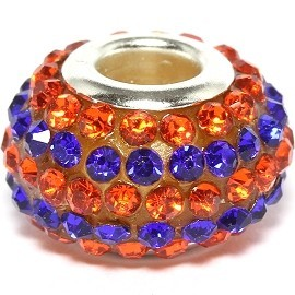 1pc Rhinestone Blue Orange Bead BD496