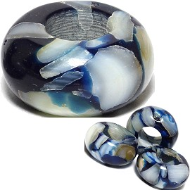 4pc Agate Stone Bead Black Blue White BD502