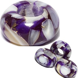 4pc Agate Stone Bead Purple White BD503