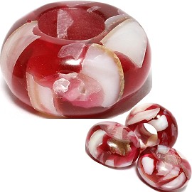 4pc Agate Stone Bead Dark Red White BD513