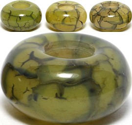 4pc Agate Stone Bead Vein Olive Green BD524