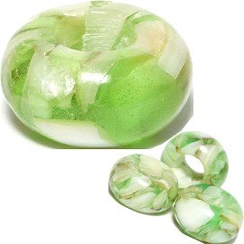 4pc Agate Stone Bead Lime Green White BD532
