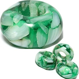 4pc Agate Stone Bead Green White BD535