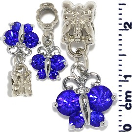 3pcs Royal Blue Butterfly Hanging Charm BD544