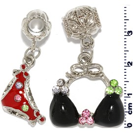 1 Set Black Red Charm BD547