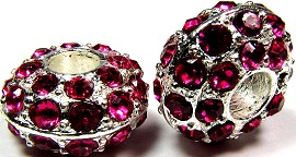 Beads 2pcs Charms Pack Silver Crystal Magenta BD735