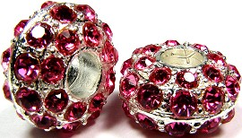 Beads 2pcs Charms Pack Silver Crystal Pink Dark BD736