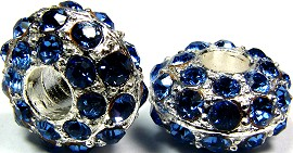 Beads 2pcs Charms Pack Silver Crystal Blue Light BD741