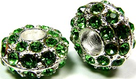 Beads 2pcs Charms Pack Silver Crystal Green Light BD743