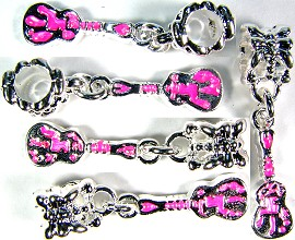 5pcs Charm Silver Guitar Pink Hot BD752
