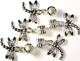 5pcs Charms Pack Dragonfly Silver BD821