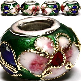 3pcs Beads Cloisonné Green BD954