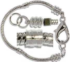 "6"" 12pc Empty Bead Charm Bracelet Gray BP003K"