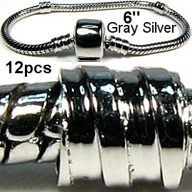 "12pcs Empty Silver Gray Bracelet 6"" BP006k"