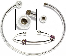 Bangle Crew On Safe Silver for Beads & Charms 1pcs BP013