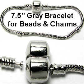 "1pc Bracelet for Charms & Beads 7.5"" Gray Silver BP018"