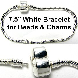 "7.5"" 1pc Bracelet for Charms & Beads White Silver BP019"
