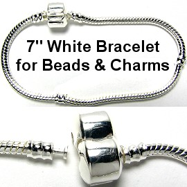 "1pc Bracelet for Charms & Beads 7"" White Silver BP020"
