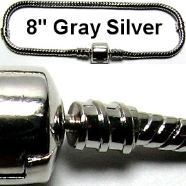 "1pc Bracelet for Charms & Beads 8"" Gray Silver BP022"