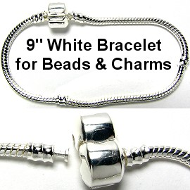 "1pc Bracelet for Charms & Beads 9"" White Silver BP034"