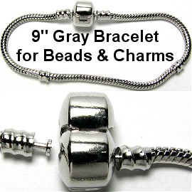"1pc Bracelet for Charms & Beads 9"" Gray Silver BP035"