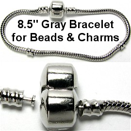 "1pc Bracelet for Charms & Beads 8.5"" Gray Silver BP036"