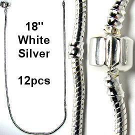 "12pcs Empty White Silver Necklace 18"" BP039k"