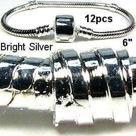 "12pcs 6"" Empty Silver White Bracelet BP042k"