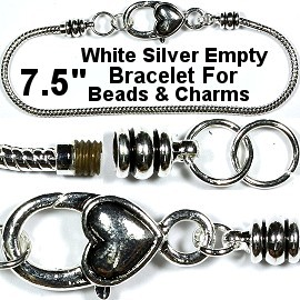 "1pc Heart Bracelet Lobster Clasp Beads Charms 7.5"" Silver BP075"